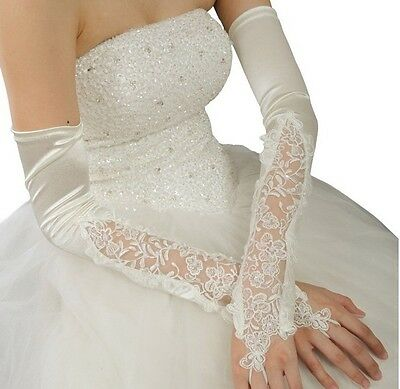 New Ivory Flowers Pearl Bridal Glove Fingerless Long Satin Lace Beaded Gloves