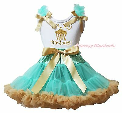 It's My Birthday Cupcake White Top Aqua Blue Gold Khaki Girls Skirt Outfit 1-8Y