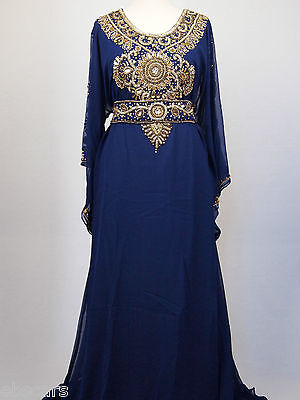 Gold on Navy New Design Belted Farasha Kaftan Maxi Dress Gown Wedding Eid Party