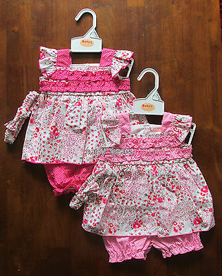 Baby Girls Summer Dress Set Pink Flower Frilly Dresses Outfit 0-3 3-6 6-9 Month