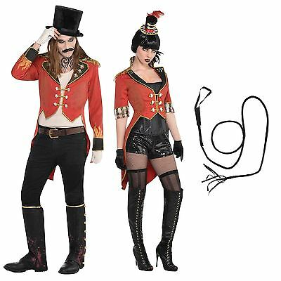 Circus Carnival Festival Ringmaster + Bull Whip Prop Bloody Red Tailcoat Coat BN