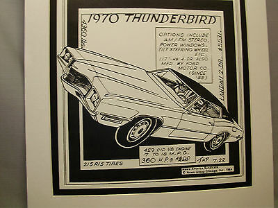 1970 Ford Thunderbird  Auto Pen Ink Hand Drawn  Poster Automotive Museum
