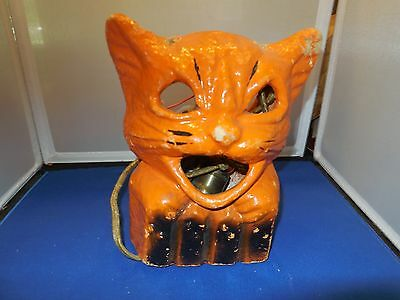 Rare Vintage Lighted Paper Mache Cat Lantern