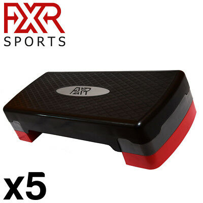 5 x FXR SPORTS ADJUSTABLE 2 LEVEL AEROBIC STEPPER STEP FITNESS TRAINING STEPS