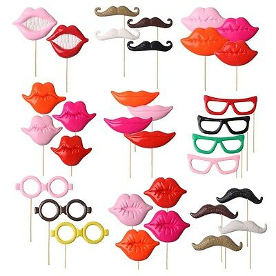 34pcs Photo Booth Props For Party Polymer Clay Glasses Moustache Lips on A Stick