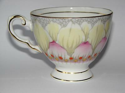 Tuscan c1947 Lotus Hand-painted Pink Grey English Vintage Bone China Tea Cup