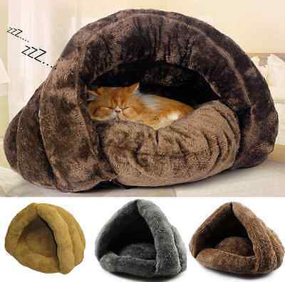 Pet Cat Sleeping Bed Kitten Puppy Dog Cave House Nest Kennel Blanket Cushion UK