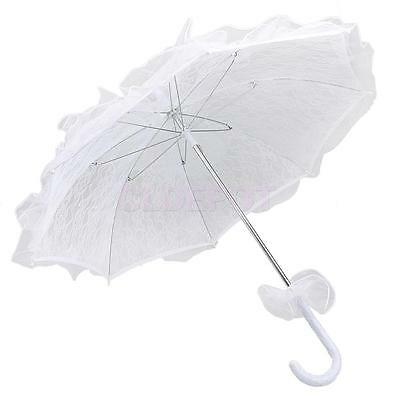 White Beautiful Lace Parasol Sun Umbrella For Bridal Wedding Party Decor