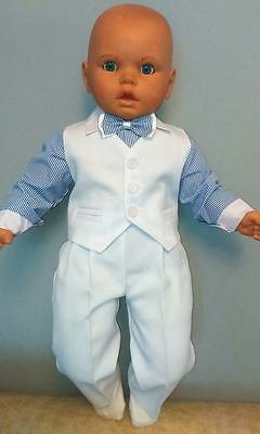 Baby Boy Suit Blue White Outfit Waistcoat Smart Christening Baptism 3 6 9 12 24M