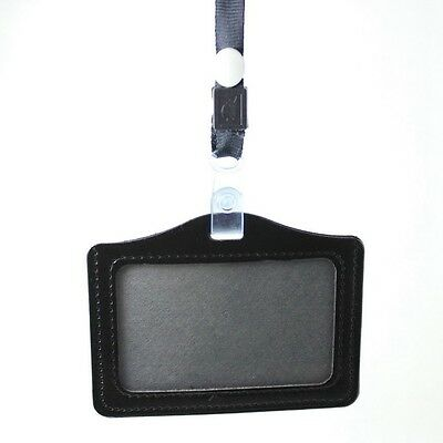 Horizontal & Vertical Faux Leather Badge ID Card Holders with Neck Strap ta