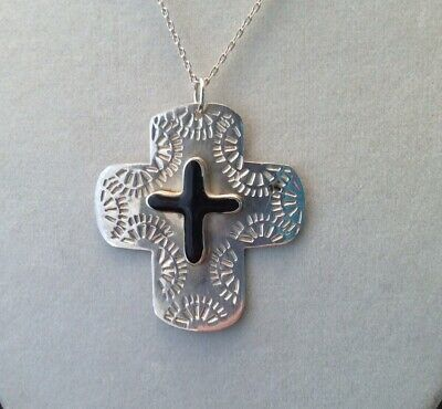 925 Sterling Silver TAXCO MEXICO Black Onyx Faith Cross 5.4g Pendant Slider