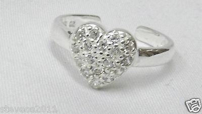 925 Sterling Silver Cubic Zirconia Heart Toe Ring