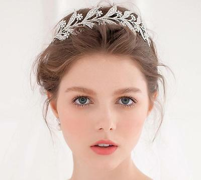 Wedding Bridal Crystal Rhinestone Silver Headband Crown Tiara Hair Jewelry Prom
