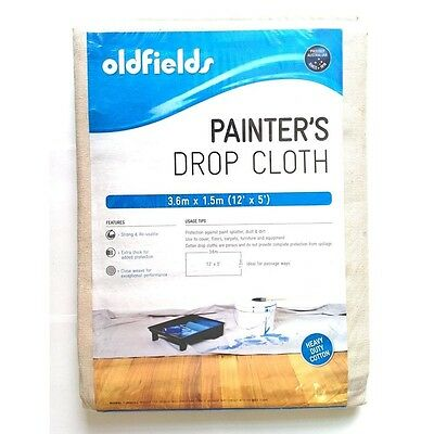 Drop Sheet/ Pack of 5 Oldfields Pro Series Painter's Drop Cloth 3.66m x 1.52m
