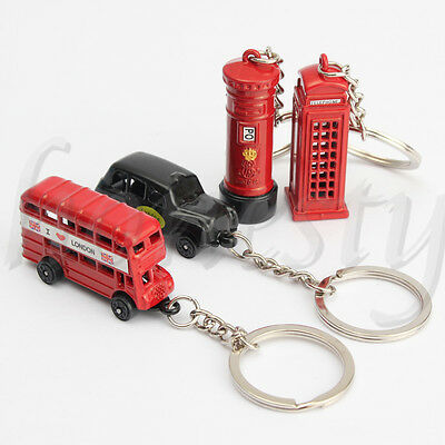 Cute British Miniature London Model Key Ring Keychain Souvenir Red Bus Taxi