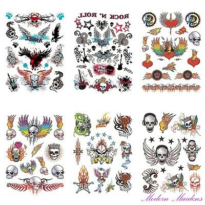 Punk Rock Skulls Removable Temporary Tattoo Body Art 6 Sheet Pack 120x170mm