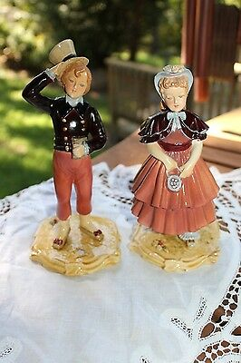 Antique VICTORIAN CHALKWARE Signed & Numbered Sunday's Child Matching Pair