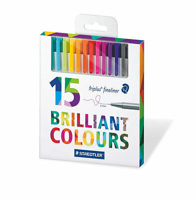 15x Staedtler Triplus Fineliner Pens Ideal for Adult Therapy Colouring 334 C15