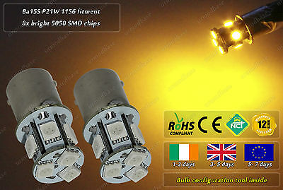 2x LED Ba15s P21W 1156 R10W Amber Yellow Side Repeaters Indicator Bulbs Lights