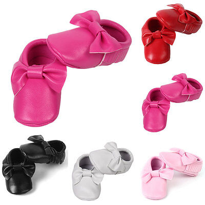 New Baby Soft Sole Suede Leather Shoes Infant Boy Girl Toddler Moccasin AU