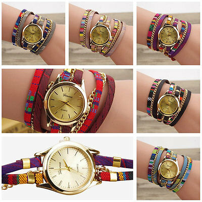 New Fashion Ethnic Ladies Leather Bracelet Casual Luxury Quartz Wrist Watch AU