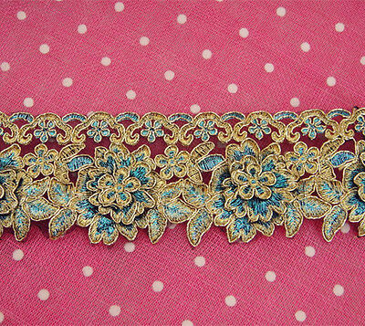 """Peacock Lace Trimming Bridal Embroidered Trim Wedding Floral Sewing Edging 2.5"""""""