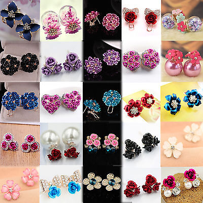 New Elegant Pearl Rose Flower Crystal Rhinestone Ear Stud Pierced Earrings Women