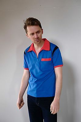 Vintage retro unused L mens cotton knit body bowling shirt polo blue red NOS