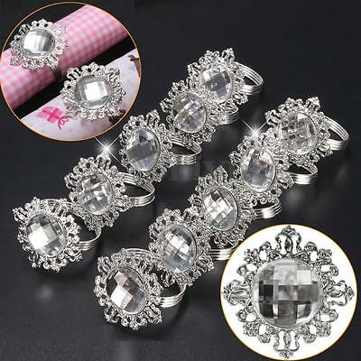 10x Diamond Napkin Ring Serviette Holder Wedding Party Banquet Dinner Decor 5cm