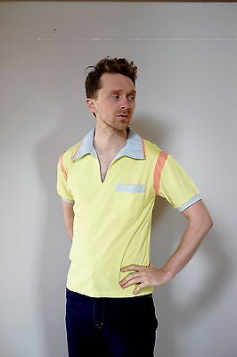 Vintage retro unused S mens cotton knit body bowling shirt polo yellow grey NOS