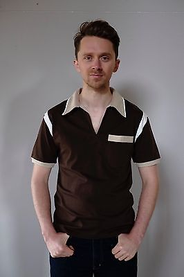 Vintage retro unused S mens cotton knit body bowling shirt polo brown beige NOS