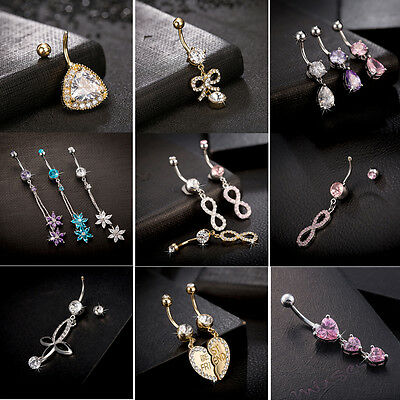 Fake Rhinestone Navel Rings Belly Button Bar Ring Dangle Body Piercing Jewelry