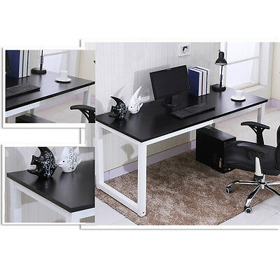 Wooden Computer PC Desk Home Office Writing Study Table Workstation Metal Legs