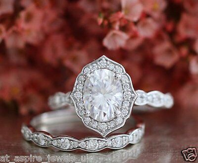 2.15Ct Brilliant Cut Diamond Engagement & Wedding Band Ring Solid 14K White Gold