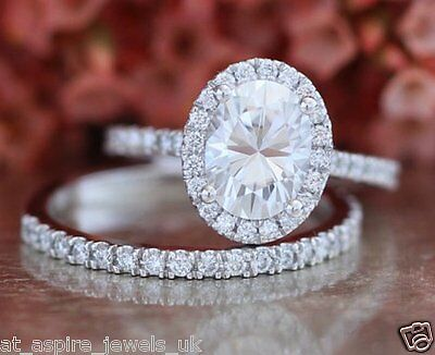2.00 Ct Oval Cut Diamond Engagement & Wedding Band Ring Solid 14K White Gold