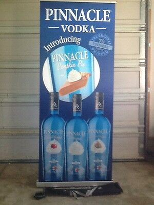 Pinnacle Vodka Retractable Roll Up Banner Stand, Display 33 X 79