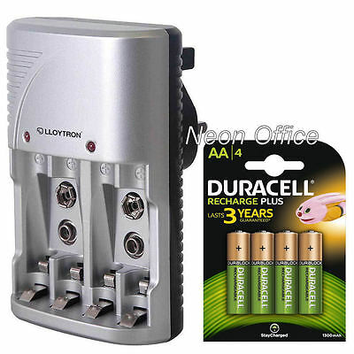 Lloytron Mains Battery Charger + 4 x Duracell AA 1300 mAh Rechargeable Batteries