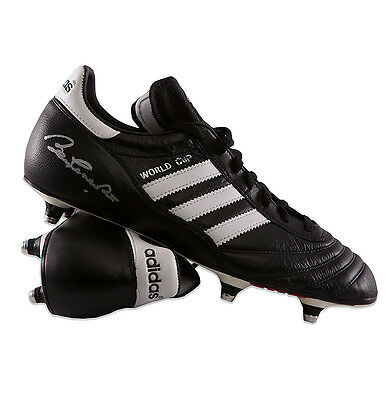 Sir Bobby Charlton Signed Football Boot - Adidas World Cup Autograph Cleat