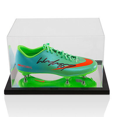 Wayne Rooney Signed Autograph Football Boot Nike Green With Acrylic Display Case