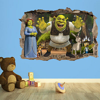 Shrek 3D Wall Breakout Sticker - Kids Vinyl Wall Sticker