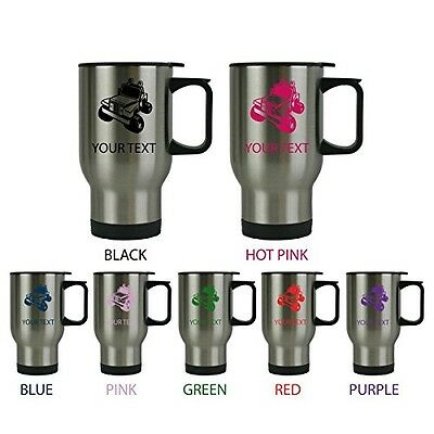 Custom Personalized Jeep 14 oz Silver Stainless Steel Travel Coffee Mug with ...
