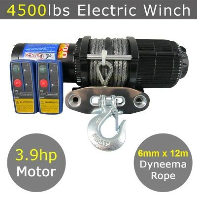 12V 4500lbs 4500lb Electric Winch Dyneema Rope 12m  Quad Boat Trailer ATV Car