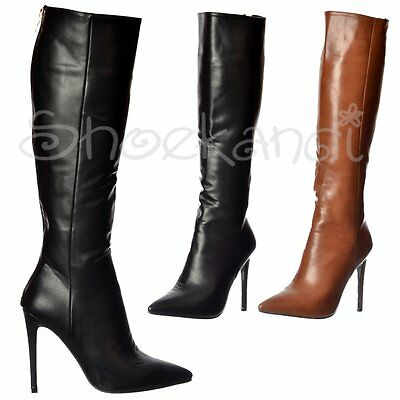 Womens Stiletto Mid Heel Sexy Pointed Toe Knee High Boots Black Brown Size 3-8
