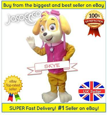 Skye Mascot Costume - Paw Patrol ✔ Complete Adult Outfit ✔ All Sizes - UK