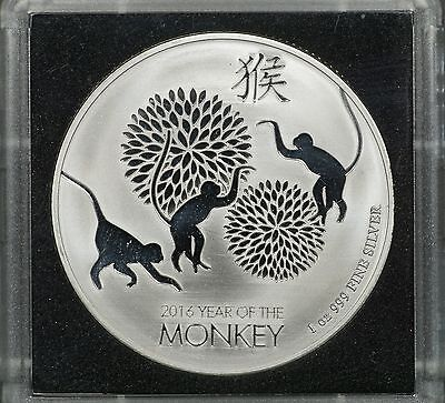 2016 Niue Two Dollar Year of the Monkey, 1 oz 0.999 Fine Silver Coin