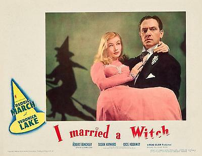 FREDRIC MARCH carries VERONICA LAKE * I MARRIED A WITCH * 11x14 LC print 1942