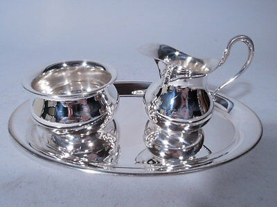 Tiffany Creamer & Sugar on Tray - Modern Tea Coffee - German Sterling Silver