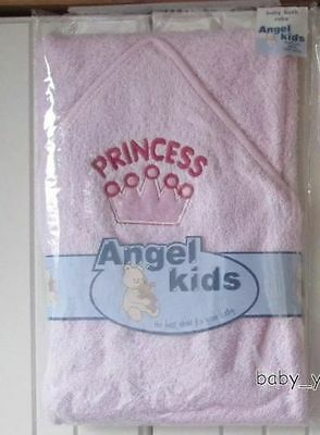 Baby Girls Hooded Bath Towel Cotton Towelling Wrap Pink Princess Hood Bathtime