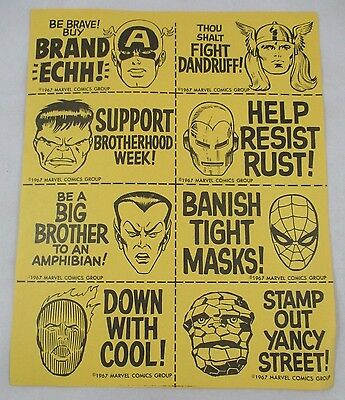 VTG 1967 Merry Marvel Marching Society Fan Club MMMS Sticker Sheet Marvelmania