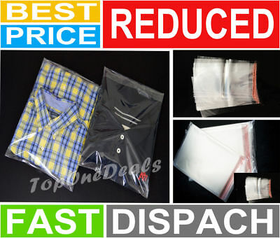Garment Bags Clear Plastic Polypropylene Self Seal Clothing Packing T-Shirts